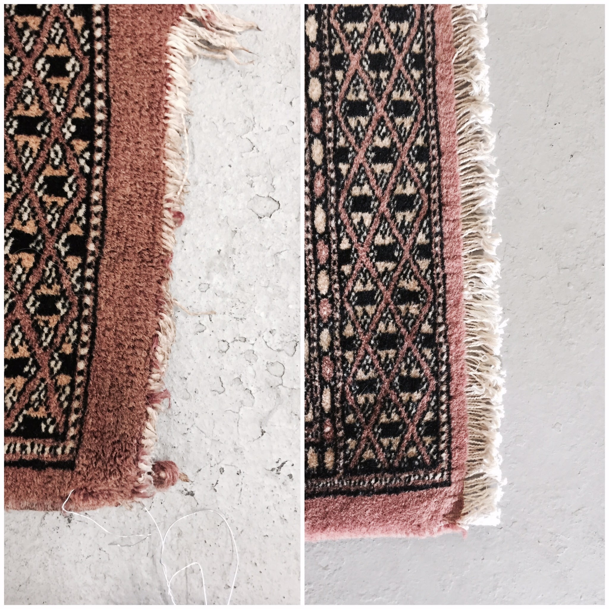 Bokhara rug fringe repair