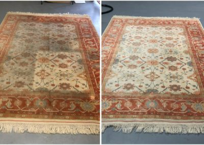 Pakistani wool rug washing before after