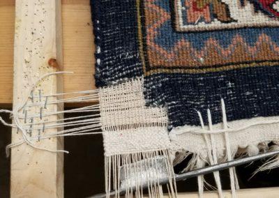 Weaving corner in oriental rug