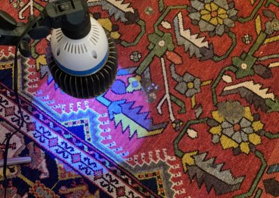 Stain removal on oriental rug with black UV light