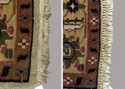 Hand made oriental rug fringe overcasting