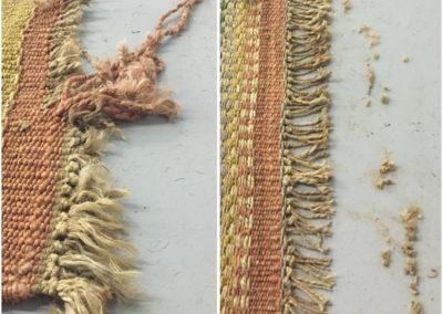 Jute rug fringe repair