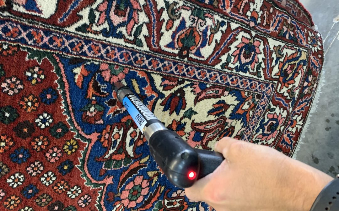 Using a moisture probe in rug washing