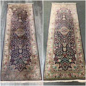 Dirty silk rug with pile distortion