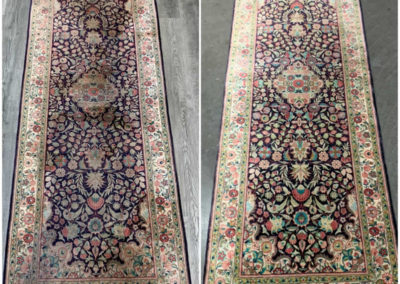 Silk rug cleaning before and after