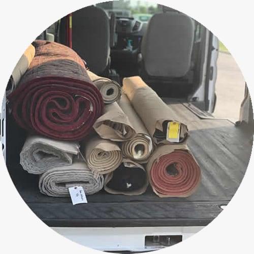 rugs in delivery van