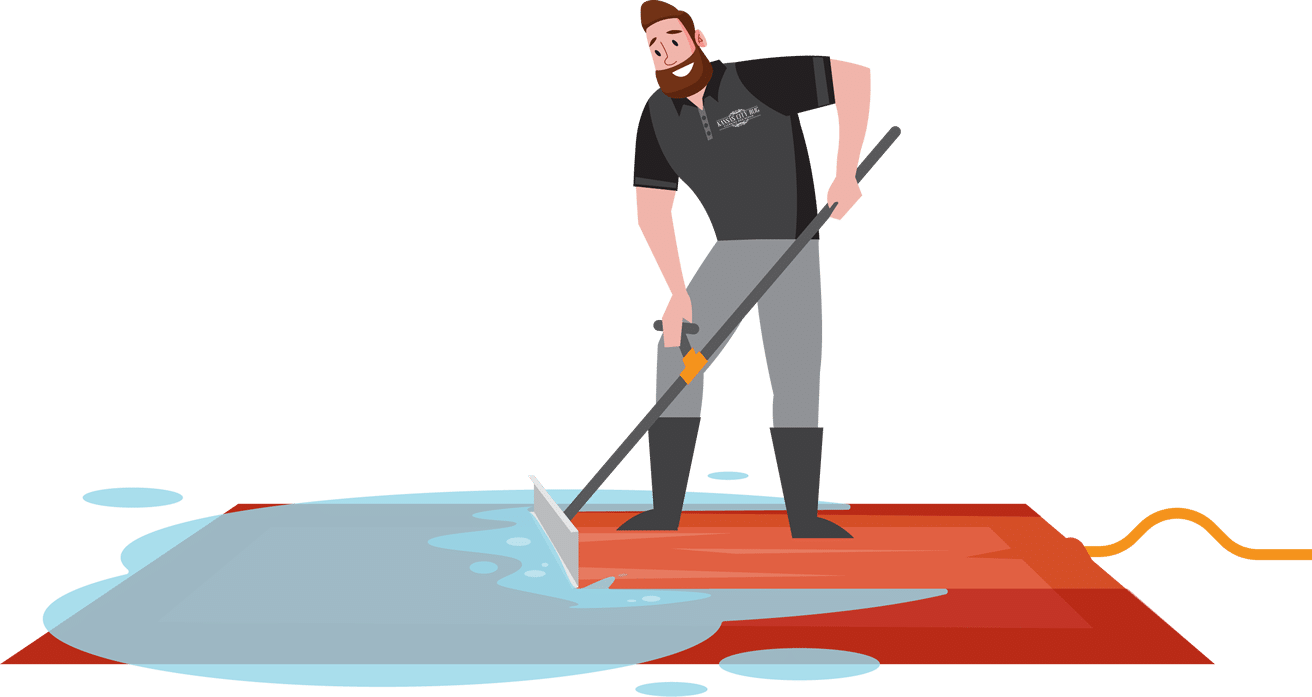 squeegeeing a rug illustraion