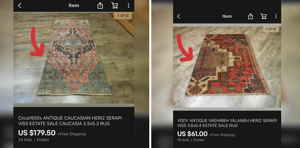 check for modified rugs ebay